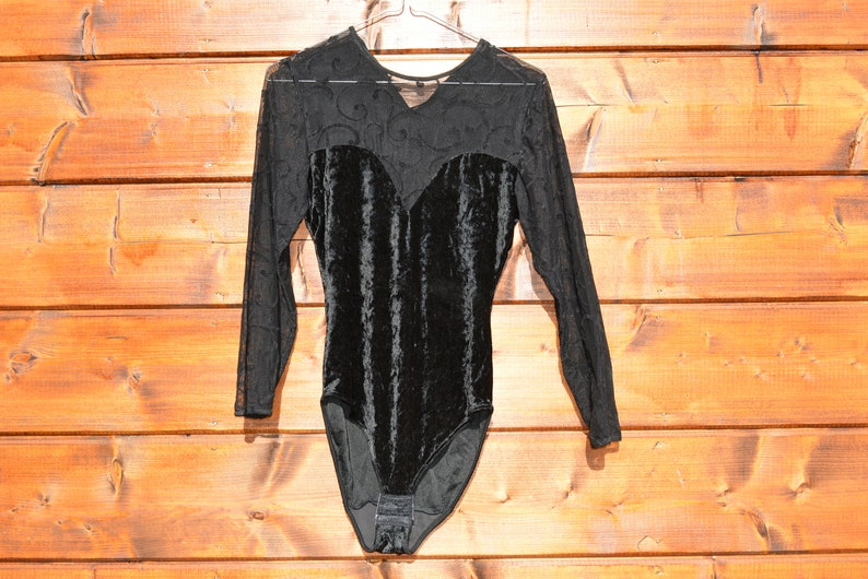 Vintage black lace velvet floral bodysuit leotard Size M