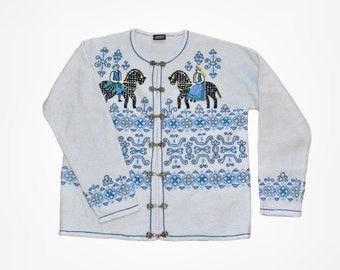 Vintage Vrikke sweater Wool Norwegian cardigan Size L