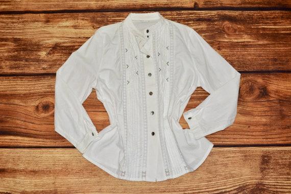 Austrian blouse Vintage white dirndl blouse