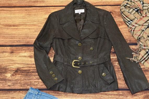 Leather blazer jacket Vintage brown jacket with be
