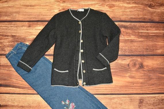 Austrian sweater Wool grey sweater Vintage cardiga