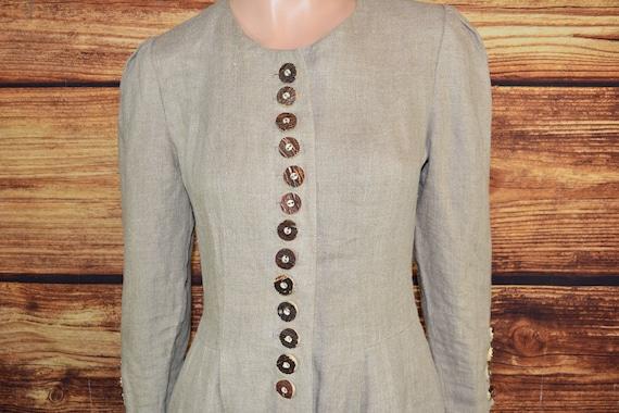 Linen cottagecore dress Long beige dirndl dress - image 3