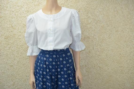 Vintage Bavarian style puffy sleeve blouse Size 38