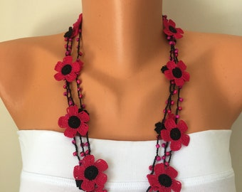 bib necklaces lariat leaf charms jewelry floral statement necklace layered adjustable necklaces Pink /& orange boho leaf necklace gift