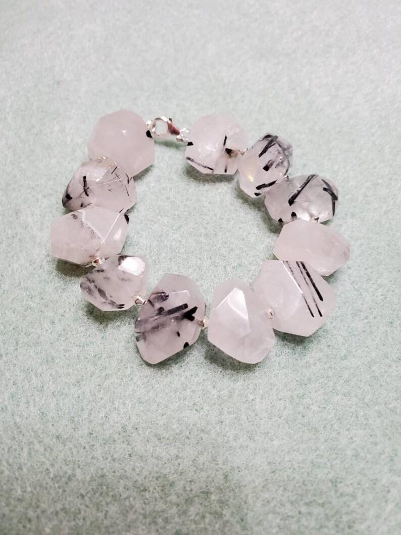 Black rutilated quartz bracelet