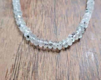 Black hematite phantom quartz necklace