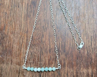 Burma jade and sterling bar necklace