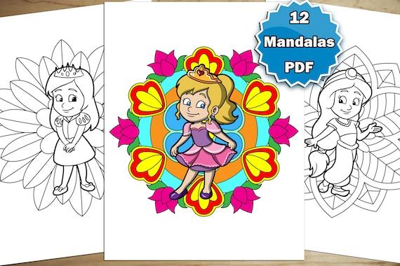 Coloring Pages For Kids: Princess Mandalas Vol 1. 12 Mandalas Etsy
