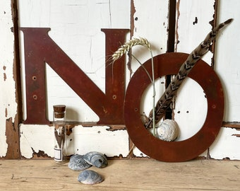 Vintage Large COPPER LETTERS, NO, Oxide Red, Word, Gallery Wall, Shelfie, Flatlay, Styling, Patina