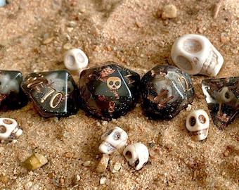 Davey Jones Dnd dice set, d20 Polyhedral dice set - Dungeons and Dragons dice- PIrate Ocean DIce