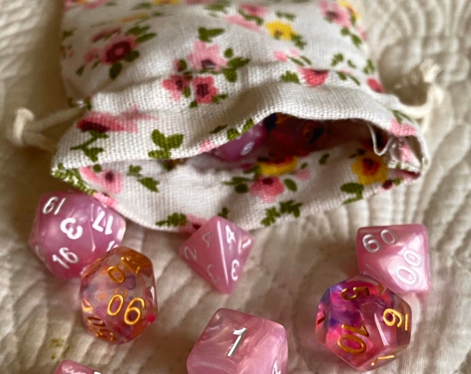 Pink Floral Print dnd dice bag, rpg polyhedral dice bag - drawstring gift bag - holds 4 sets of d20 dice