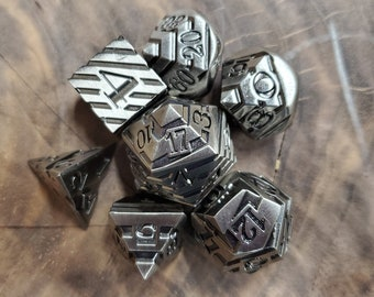 Iron Spindle Metal DNd DIce set, Polyhedral dice set for Dungeons and Dragons RPG, ttrpg -- solid metal & heavy!