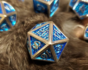 Blue Scale DNd DIce set, Metal dice , Polyhedral dice set for Dungeons and Dragons RPG, ttrpg -- solid metal & heavy!