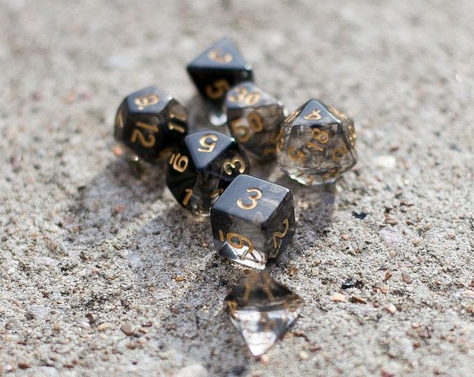11 piece dnd dice set, SMOKE ASH Polyhedral dice set for Dungeons and Dragons d20 d6 d10 d8 d4 d12