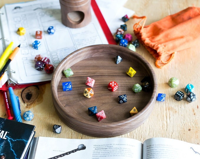 Handcrafted Dice Tray from Solid Wood -- ROUND handmade dice tray for Dungeons and Dragons TTRPG tabletop games