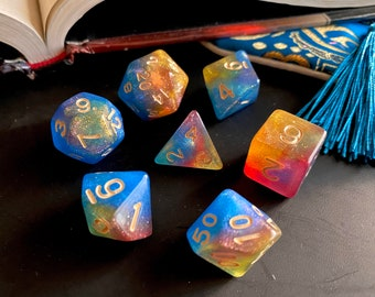 Mystic PRISM DNd Dice set for Dungeons and Dragons TTrpg, Polyhedral Dice Set - d20 Galaxy Dice