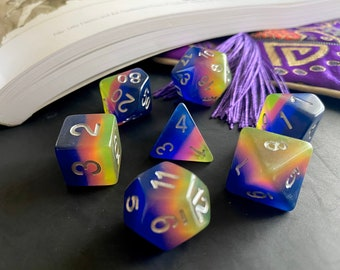 NEON DREAM Dnd Dice sEt for DUngeons & DRagons RPg, PAthfinder TTrpg Polyhedral DIce -- GLowing Layers!