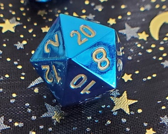 BLue FLame MEtal Dnd DIce SEt, POlyhedral DIce SEt FOr DUngeoNs & DRagons. COated STainless STeel