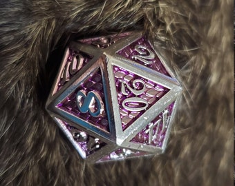 Violet Scale DNd DIce set, Metal dice , Polyhedral dice set for Dungeons and Dragons RPG, ttrpg -- solid metal & heavy!