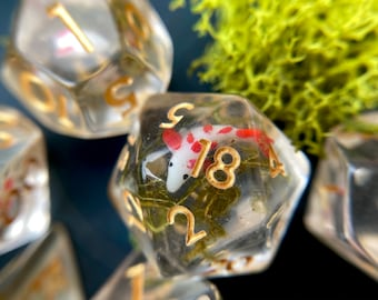 Koi Fish dice set, dnd dice set for tabletop gaming - Asian inspired Dungeons and Dragons dice - tabletop gaming dice set