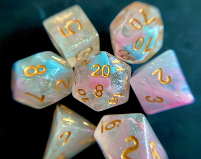 Angel Wings DNd Dice Set 4 Dungeons & Dragons, D20 Polyhedral dIce Set 4 TTRPG rOle PLaying GAmes