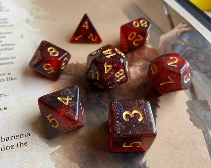 BURNING HANDS Dnd DIce SEt FOr DUngeons and DRagons RPG, Red and black galaxy nebula for tabletop role playing games