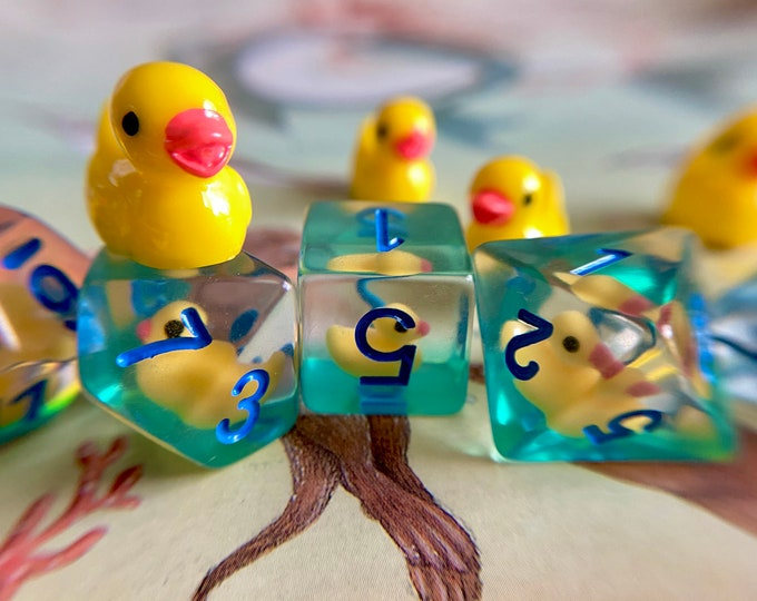 Ducky dice, Dnd dice set, d20 ducky - Polyhedral dice set for Tabletop Role Playing Games - yellow rubber duck dice
