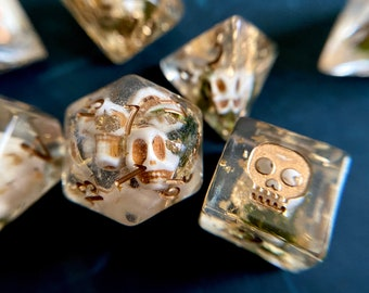 HEADHUNTER dnd DIce SEt for Dungeons and Dragons TTRpg, SKULL dice Polyhedral dice set for Tabletop role playing games - tiny bone skulls in
