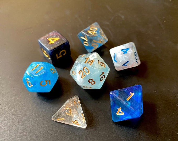 BLUE Mixed DNd Dice set FOr Dungeons and Dragons RPg POlyhedral DIce
