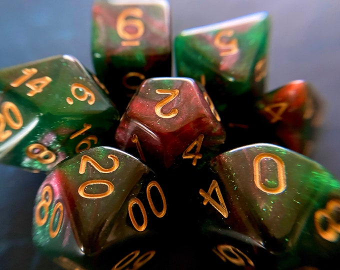 ORC BLood DNd DIce SEt, Polyhedral DIce SEt, RPg DIce SEt for Dungeons and Dragons, PAthfinder TTRPG RPG