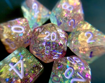 Abalone Dnd dice set, Seashell Dice , d20 Polyhedral dice set - Ocean Themed Dungeons and Dragons dice- Sea Shell Pirate Dice PRE- ORDER