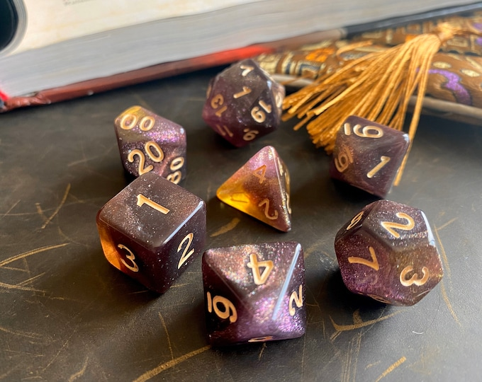 Mystic AMBER DNd DIce SEt for Dungeons and DRagons TTrpg, POlyhedral DIce Set - d20 GAlaxy DIce