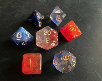 BBW Mixed DNd Dice set FOr Dungeons and Dragons RPg POlyhedral DIce
