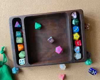 SOLID Wood Dice Tray for Dnd, Dungeons and Dragons, D&D, ttrpg dice.  Genuine Leather Liner, FAST Shipping - Handcrafted in the USA!!
