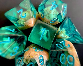 Under SEA (FLAWED) Dnd dice set, Seashell Dice , d20 Polyhedral dice set - Sea Shell Mermaid Dungeons and Dragons dice- Pirate Dice