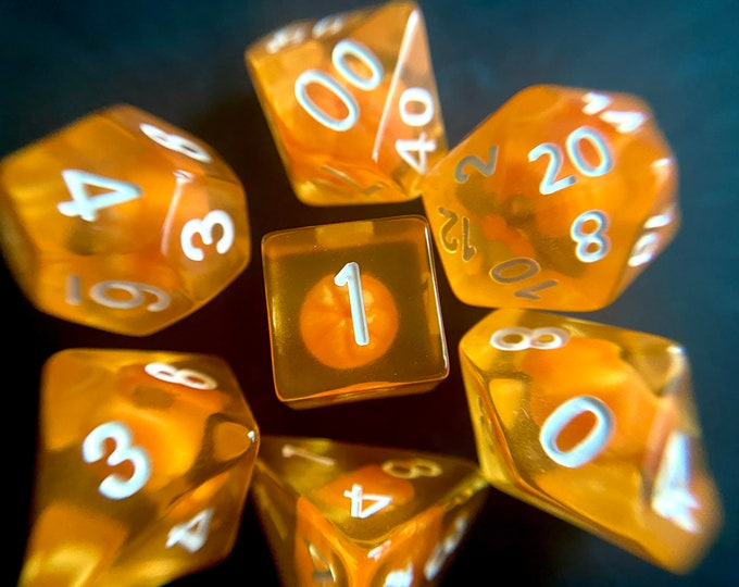 Mandarin Orange dnd DIce SEt for Dungeons and Dragons TTRpg, Polyhedral dice set for Tabletop role playing games - tiny fruits INside!