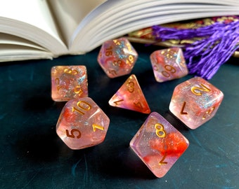 BALLGOWN DNd DIce SEt for DUngeons and Dragons TTrpg, Enchanted d20 POlyhedral DIce SEt