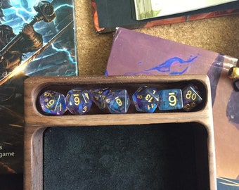 Wood dice tray for Dungeons and Dragons, Warhammer TTRPg DICE set W/genuine LEATHER liner for DNd DIce SEt