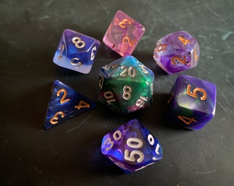 PPG DNd Dice set FOr Dungeons and Dragons dice , RPg POlyhedral DIce SEt, D20 DIce