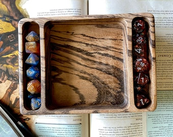 Dice Tray for Dungeons and Dragons TTrpg, d20 Dungeon Master dnd dice - Handmade SOLID WOOD ! Warhamner 40k, TAbletop GAming WIth DIce SLot