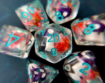 Poison Mushroom dnd dice set, flower dice, polyhedral dice set for Dungeons and Dragons, RPG TTRPG tabletop game dice