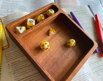 DiceTRay for Dnd dice set, warhammer 40k, Dungeons and Dragons gaming. HANDMADE w/genuine Mohogany