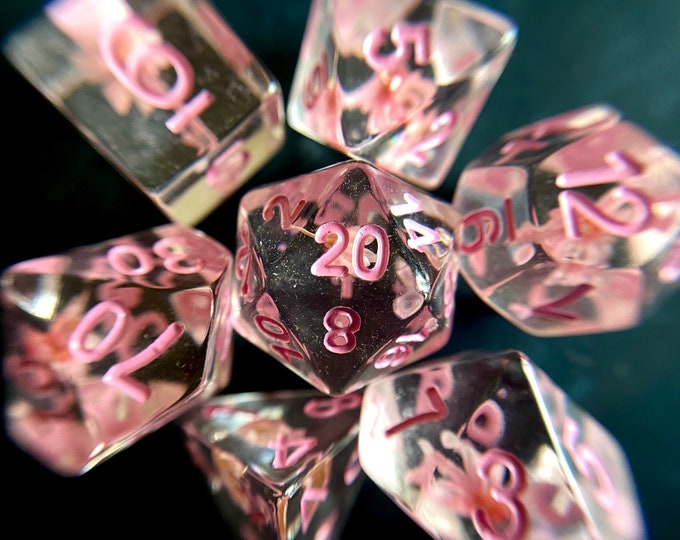 Strawberry Blossom dnd dice set for Dungeons and Dragons, d20 Polyhedral dice set for TT RPG - REAL beautiful flowers inside!