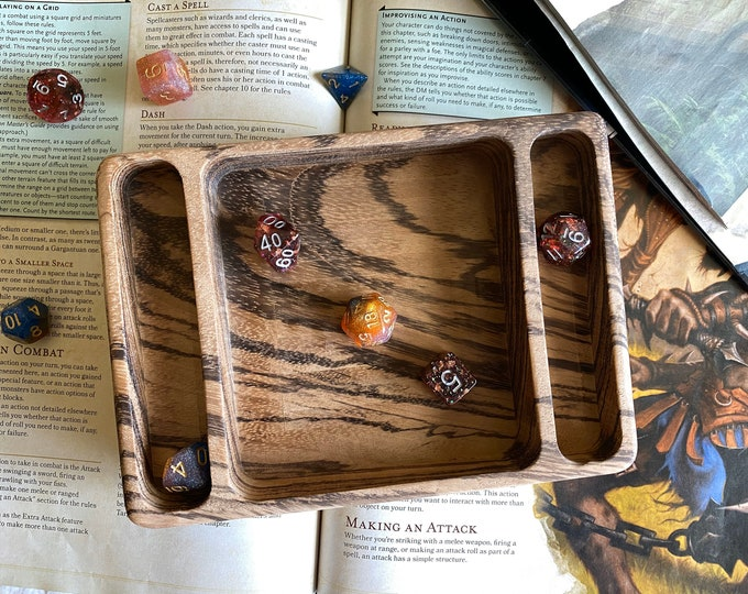Zebrawood SWITCH wood dice tray for Dungeons and Dragons TTrpg, d20 Dungeon Master dnd dice - Handmade from SOLID WOOD !