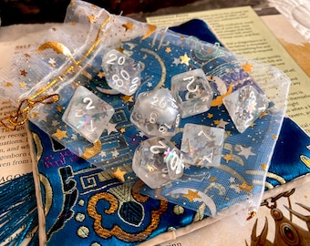 SNOWFLAKE Dnd DIce Set for Dungeons and DRagons TT RPg, d20 Polyhedral dice set  -- beautiful winter sparkle!