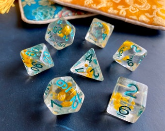 Sun Flower DnD Dice Set, Polyhedral Dice Set For Dungeons & Dragons-RPG Dice Set w/ Real Flowers Inside!!