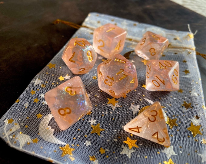 First Kiss DnD Dice Set for DUngeons & Dragons RPG, PAthfinder TTRPG POlyhedral DIce SEt - PInk TInt with RAinBow SHimmer!!