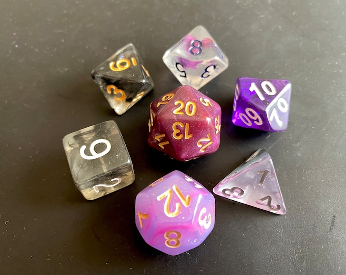 BP1 Mixed DNd Dice set FOr Dungeons and Dragons RPg POlyhedral DIce