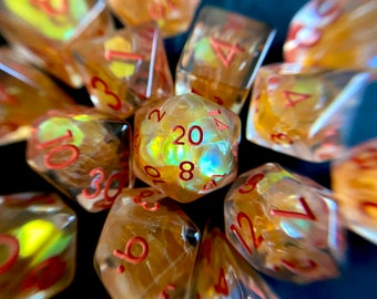 SUN Tears dnd dice set for Dungeons and Dragons, d20 Polyhedral dice set for TT RPG - incredible iridescent sparkles!