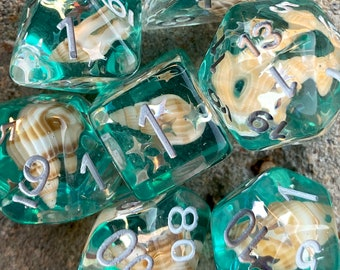 SEAFOAM DNd DIce SEt for DUngeons and DRagons TTrpg, POlyhedral DIce SEt FOr TAbletop ROle Playing Games -- REal SEA SHELLs INside!!